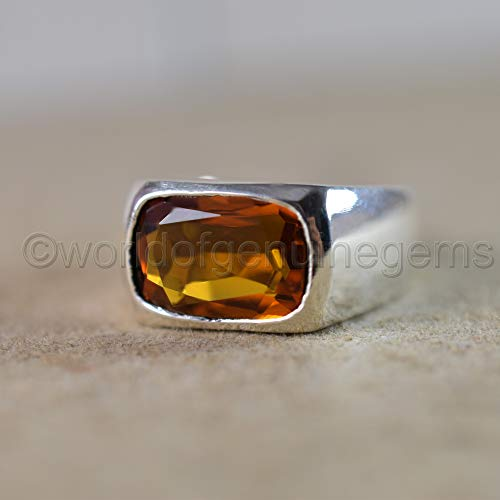 citrine ring, 925 sterling silver, citrine man's ring, deep yellow citrine, gemstone ring, faceted cut gemstone ring, father's day gift ring, anniversary gift ring, gift able ring, bachelor party -