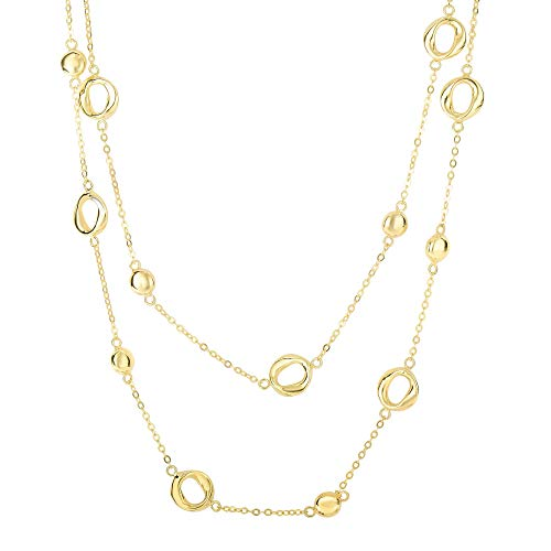(14K Yellow Gold Round Puff Circle Twisted Oval on Single Double Drop Piatto Type Necklace 17