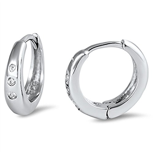 Silver Sterling Polish High Tapered (Hoop Tapered High Polish Huggie Shiny Clear Simulated CZ .925 Sterling Silver Huggie Hoop Earrings)
