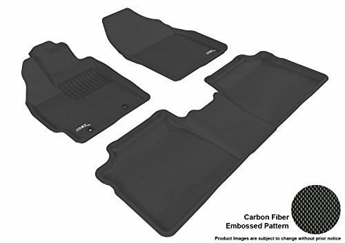 3D MAXpider Complete Set Custom Fit All-Weather Floor Mat for Select Toyota Prius Models - Kagu Rubber (Black)