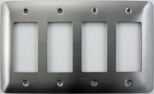 - Mulberry Princess Style Satin Stainless Steel 4 Gang GFI/Rocker Opening Switch Plate