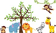 Jungle Safari Animal Wall Decals Kids Wall Stickers Peel and Stick Removable Vinyl Wall Art for Kids Bedroom N