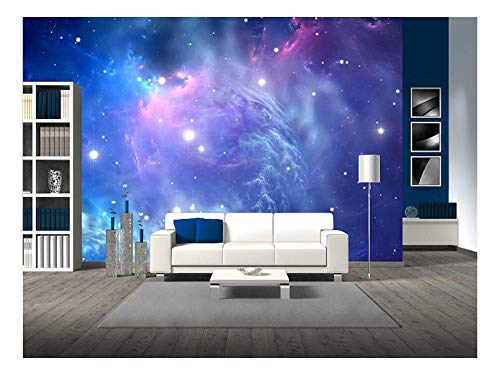 wall26 - Blue Space Nebula - Removable Wall Mural | Self-Adhesive Large Wallpaper - 100x144 - Wall Wallpaper Blue