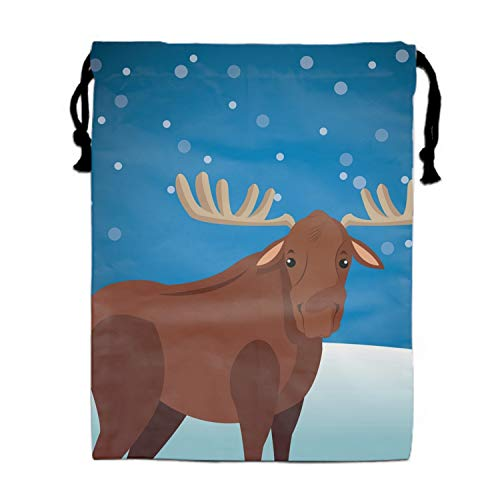 Burlap Bags with Drawstring Cute Moose Wit Snowy Background Image Pouches Sacks Bag for Wedding Favors, Party, DIY Craft