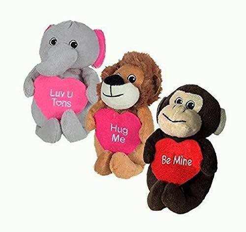 Monkey Love Mine (GNB Valentine Plush Wild Safari Animals; Lion, Monkey and Elephant, 3-ct Set)