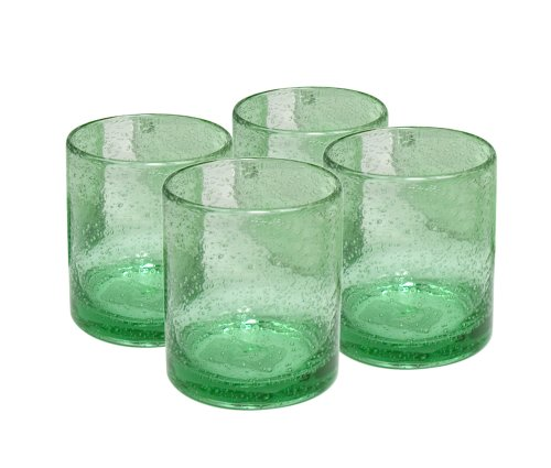 Artland Iris Double Old Fashioned Glasses, Light Green, Set of 4 - Green Juice Tumbler
