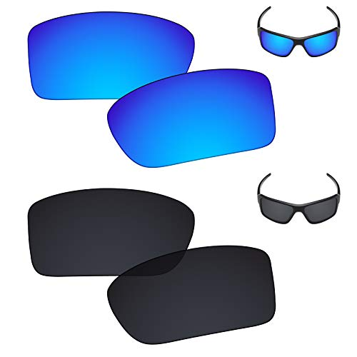 (Galvanic Replacement Lenses for Oakley Double Edge Sunglasses - Ice + Black Polarized - Combo Pack)