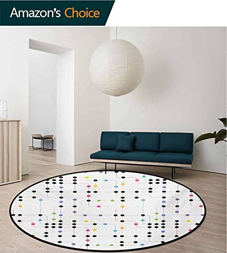 (RUGSMAT Colorful Round Rugs for Bedroom,Metro Scheme with Vivid Colored Intricate Lines and Dots Urban Life Transportation Circle Rugs for Living Room,Round-47 Inch Multicolor)