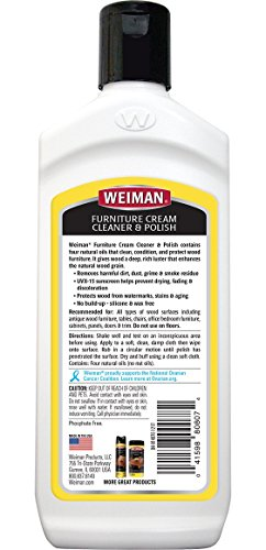 Weiman Wood Cleaner and Polish 8 fl. oz. [2 Pack] Use On Furniture, Wood Table Cleaner, Cabinet Restorer, Conditioner, Polish