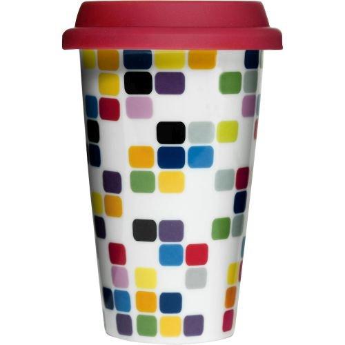 Sagaform 5015918 Double Wall Porcelain Pix Take Away Mug with Drip Proof Silicone Lid, Pix, 8.5-Ounce