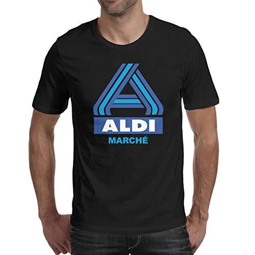 (UONDLWHER Men's Round Neck Aldi-Supermarket-Logo- Printing Shirts Tee)