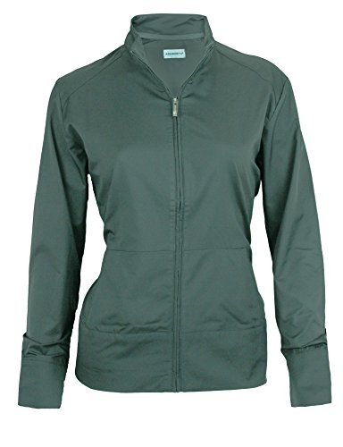 Ashworth Women's Performance Solid Stretch Wind Jacket (Large, Dark Grey)