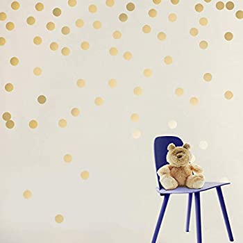 Gold Dots Wall Stickers (2.0inch x 300 Decals),Safe on Walls &  Paint,Metallic Vinyl Polka Dot Decor,Round...