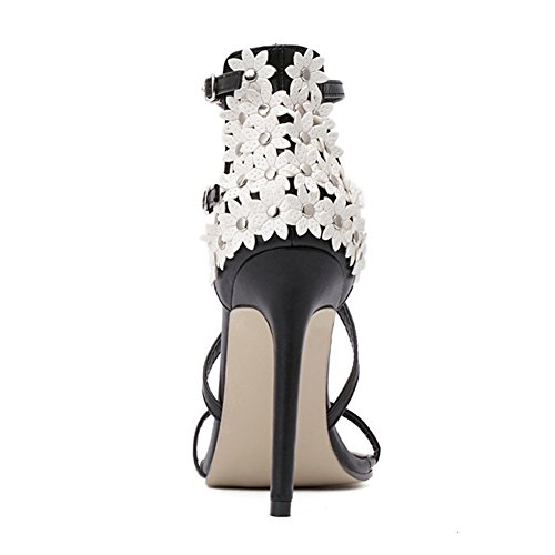 Buckle Studded Flower Cross Heeled Stiletto Strappy fereshte High with Women's Black Sandals 6IwTxnZv