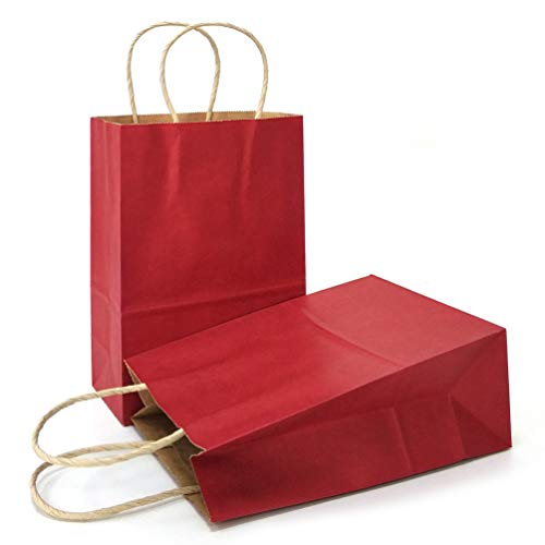 AZOWA Gift Bags Kraft Paper Bags with Handles Party Supplies (Dark Red, 25 Pcs, -