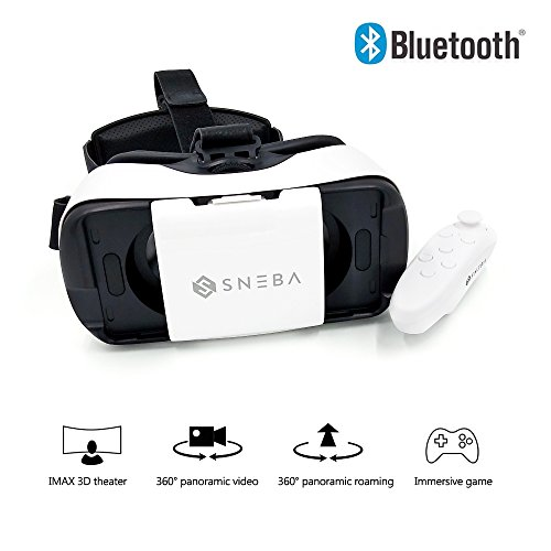 """SNEBA 3d VR Glasses- Premium Virtual Reality Headset, Volume & Control Dial, Adjustable Lenses & Strap For iPhone7, Samsung, Smartphone 4.5""""-5.7""""- VR Googles For Movies & Games"""