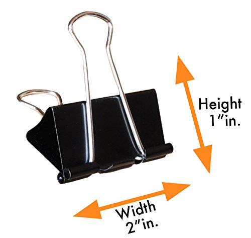 Binder Clips, Large Binder Clips 2-inch (24 Pack), Black, Large Paper Clamp for Office Supplies, Stronger Than Any Large Paper Clips - by SCG Imports by SCG imports (Image #5)