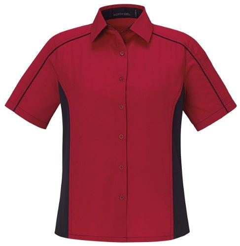 (Ash City Women's Fuse Ladies' Color-Block Twill Shirt, XXL, Classic Red / Black)