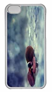 Customized iphone 5C PC Transparent Case - Water Drop On Purple Leaves Personalized Cover