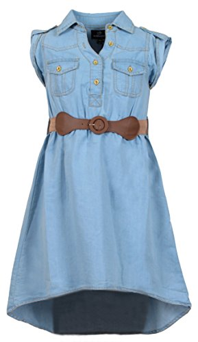 Belted Leather Jeans ('Dollhouse Girls\' Breast Pocket Belted Denim Peasant Dress, Size 10/12,)