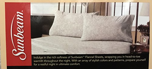 Sunbeam Super Soft Flannel Sheet Set with Deep Pockets and 4 Standard Pillowcases, Lissa Paisley Sand (Queen)