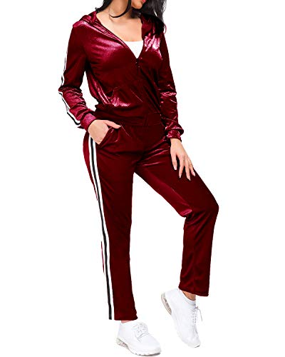 MINTLIMIT Women's Winter Velour Zipper Hooded Jacket Jogger Pants 2 Piece Sweatsuit(Wine Red,Size M)