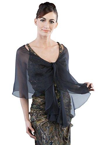 Navy-Black Evening Wedding Silk Chiffon Scarf Wrap Shawl by Lena Moro