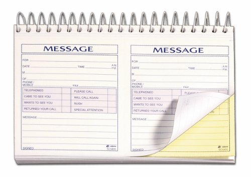 (Adams Phone Message Book, 8.5 x 5.25 Inch, Spiral Bound, 2-Part, Carbonless, 2 Messages per Page, 200 Sets, White and Canary (SC5805D))