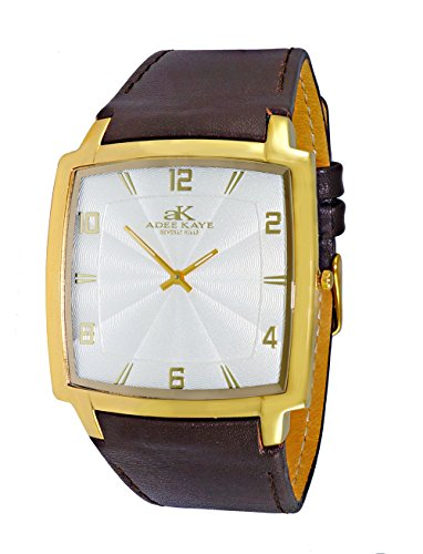 Mens Swiss Stainless Steel & Leather Watch by Adee Kaye-Gold tone