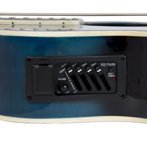 Electric Acoustic Bass Guitar Blue Solid Wood Construction With Equalizer - Image 5