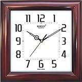 Rikon Quartz Plastic Square Shape 27.5 cm X 27.5 cm Fancy Premium Home Decor Wall Clock For Home And Office R-109 (Red)