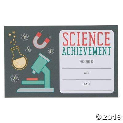 Fun Express Science Achievement Award Certificate - 25 Pieces - Educational and Learning Activities for Kids: Toys & Games