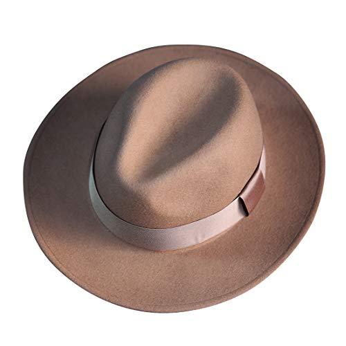 ByTheR Mens Premium Woolen Classic Gentlemen Detachable Ribbon Fedora Hat Beige