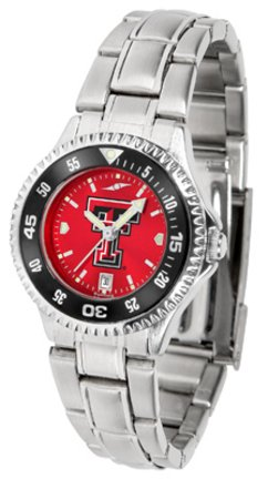 Texas Tech Red Raiders Competitor AnoChrome Ladies Watch with Steel Band and Colored (Texas Tech Competitor Watch)
