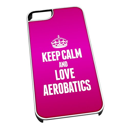 Bianco cover per iPhone 5/5S 1677 Pink Keep Calm and Love Aerobatics