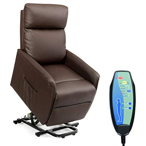 Giantex Electric Power Lift Massage Recliner, Modern Vibrating Lift Chair w/Remote Control & Side Pocket, Backrest Footrest Adjustable, PU Leather Sofa Lounge for Living Room Office Home -