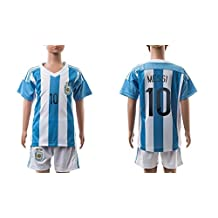 Argentina Messi #10 Home Soccer Jersey Kit With Shorts Kids Sizes YS YM YL