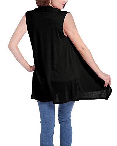 Aperto Coat Eleganti Lunga Schwarz Donne Leggero Asimmetrico Sleeveless Relaxed Cardigan Outwear Estivi Casuale Donna Casual Forcella A Battercake Gilet Moda Monocromo AqOCUYYw