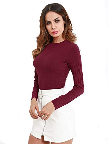 Milumia Women's Round Neck Long Sleeve Slim Fit Ribbed Crop Tops Burgundy ()