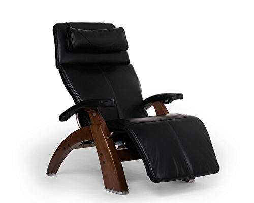 Photo Perfect Chair Human Touch PC-610 Live Power Omni-Motion Walnut Zero-Gravity Recliner Premium Leather Fluid-Cell Cushion Memory Foam Jade Heat - Black Premium Leather - in-Home White Glove Delivery
