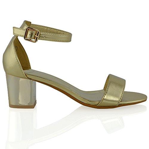 Essex Glam Donna Tacco Cinturino Alla Caviglia Tacco Cromato Peep Toe Fibbia Sera Sandalo Oro Metallizzato