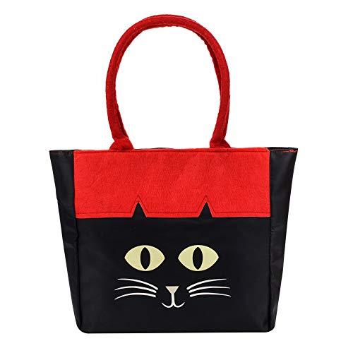 ERANLEE Halloween Trick or Treat Bags Halloween Theme Cat Handbag Children's Fabric Candy Tote Bag for Kids Black -
