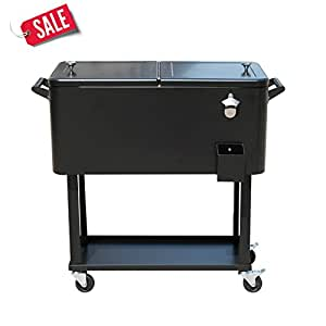 Portable Rolling Patio Ice Chest Cooler Cart 80Qt Outdoor Beer Beverage Party Black - Skroutz Deals