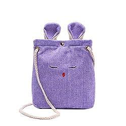 Rakkiss Women Burlap Messenger Bag Cartoon Crossbody Bag Cute Shoulder Bag Square Handbag Totes
