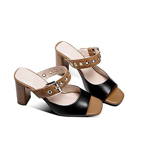 Cuero con Mujeres Dedos YUBIN Y Sexy Cinturón Tamaño Sandalias Completo Moda Sandalias Abiertos De De Color Zapatillas Zapatos 36 Black Retro Los Desgaste Nueva Hebilla Hpt7pwq
