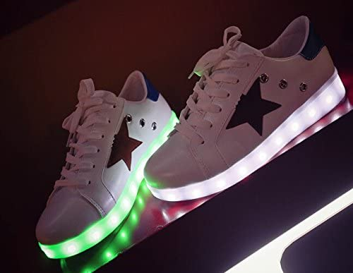 Tricandide Couples 7 Colors LED Flashing Sneaker Party Shoes Star Logo Sport Shoes Grey Star EU 38