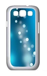 Blue Light Circles Custom Hard Back Case Samsung Galaxy S3 SIII I9300 Case Cover - Polycarbonate - White