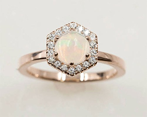 Fine Platinum Ring (Opal Engagement Ring/Diamond Wedding Ring/14k Solid Rose Gold & Natural Diamonds/Hexagon Ring/Opal Bridal Ring/Art Deco Wedding Ring)