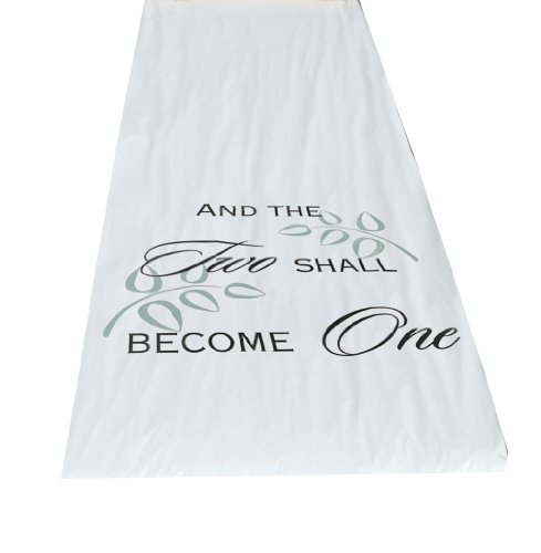 Hortense B. Hewitt Wedding Accessories Fabric Aisle Runner, 100-Feet Long, White Two Become One (And The Two Shall Become One Aisle Runner)