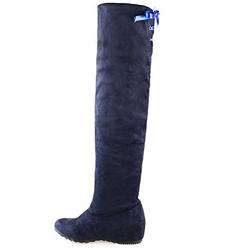 Top High Suede Pull AllhqFashion Womens Blue Solid Boots On Kitten Heels Imitated xz6xH